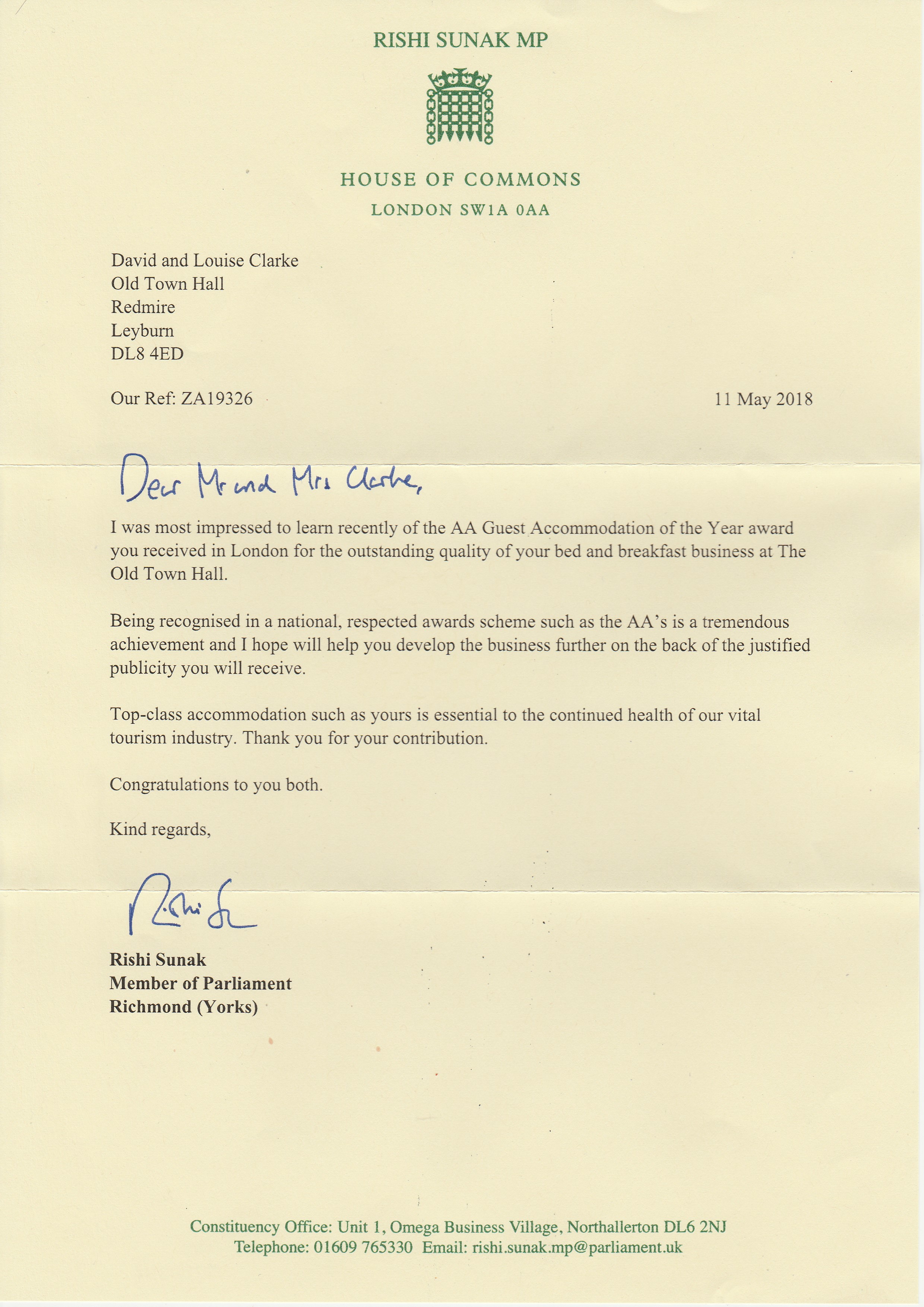 Congratulations letter from Rishi Sunak MP